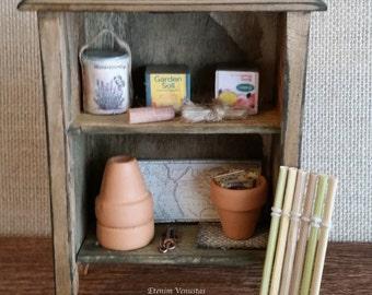 Miniature Garden Shelves With Accessories ~ Potting Shelves ~ 1:12 Scale