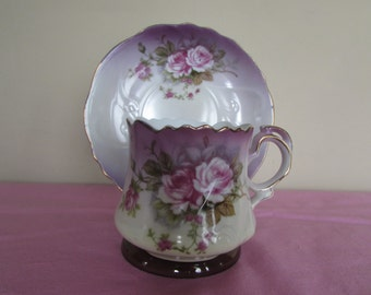 Lefton (#NF2758) Handpainted Tea Cup and Saucer with Floral Pattern on each piece and Original Lefton Label