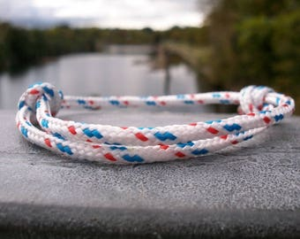 Surfer bracelet white blue red, sailing rope bracelet 3 mm, maritime nautical cord bracelet, sailing wrist, knot bracelet, sailing, surfing, rock climbing