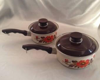 MONETA Enamelware Pot Set/Moneta made Italy Orange Flower Enamelware Pot Set