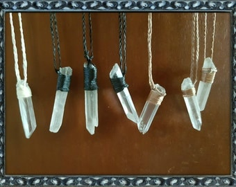 Crystal and Wax string necklaces
