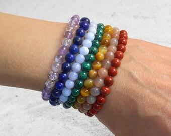 7 Chakra Bracelet Set, 6mm Beads, Stacking Bracelets, Seven Chakra Jewelry, Healing Crystals, Yoga Mala Beads, Chakra Balance & Alignment