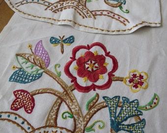 Gorgeous Vintage Chair Backs- Jacobean Crewel Work Hand Embroidery