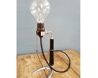 Vintage table lamp made with ancient door still laboratory | Old Table Lamp, handmade by our LAB. with old stand
