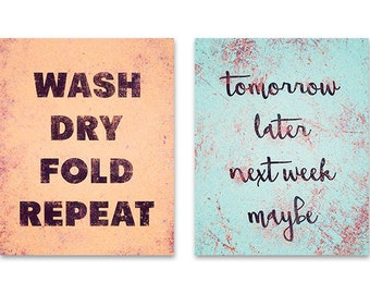 Laundry room set of 2 prints, wash dry fold repeat, laundry room decor, laundry room rules, typography print, laundry room signs, aqua coral