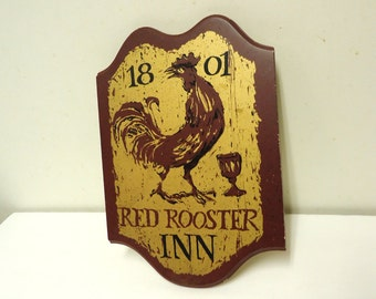 red rooster inn vintage sign,red rooster rustic wooden plaque sign,farmhouse country kitchen,chicken decor
