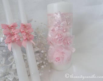 Pink Unity Candle Set.  Color Choice.  Free Shipping.
