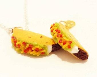 Handmade Beef Taco Charm - Polymer Clay Food Charm - Miniature Food Jewelry - Taco Jewelry - Taco Necklace - Taco Keychain