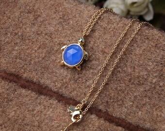 Cute Blue Stone Turtle Gold Adjustable Chain Pendant Necklace