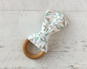 Baby Wooden Teething Ring-Triangles-Teal and Grey-Geo-Modern-Fabric and Wooden Teething Ring- Sensory Toy