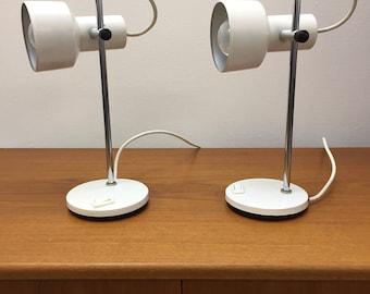 Two Original Retro White Side Lights/Desk Or Bedroom.