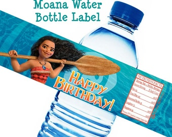 Moana Birthday Water Bottle Label Moana Water Bottle Wrap Moana Party Water Bottle Label Disney Moana Party Decor Printable Instant Download
