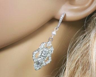 Art Deco Earrings, Silver Vintage Earrings, Swarovski Pearl Earrings, Art Deco Weddings, Great Gatsby Downton Abbey Jewelry, Burlesque