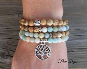 108 Mala beads bracelet, amazonite, Picture Jasper mala necklace tree of life Crystal healing meditation gemstone Mala beads prayer beads
