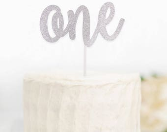 One Silver Cake Topper, Silver 1 Cake Topper, Age Cake Topper, Silver Cake Topper, Glitter Cake Topper, 1st Birthday,Silver Cake Topper