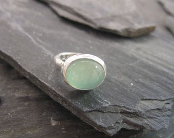 Aqua Chalcedony ring sterling silver, handmade in France.