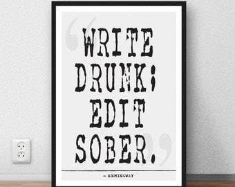 Ernest Hemingway   quote print - Literary Quote, Book Quote, Literary Print, Literary Printable, Literary Wall Art, printable download