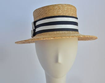 Straw Boater with Navy Blue and White RIbbon