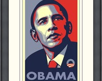 Framed RARE Obama Campaign Poster - OBAMA by Shepard Fairey 18x24