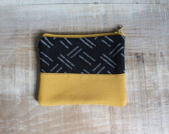 Coin purse, wallet, pocket, zip closure, yellow, coin pouch, case, coin holder, eco-responsible, recycled fabrics