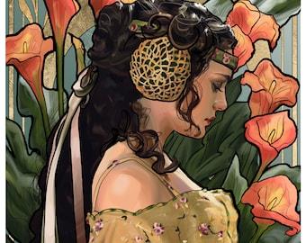 Art Nouveau Padme - print of digital Star Wars fanart - Natalie Portman, George Lucas, picnic dress, art, painting, portrait, sci-fi movies