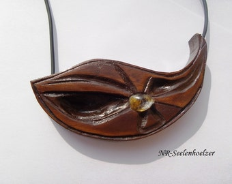 Golden core wood pendant / necklace with citrine