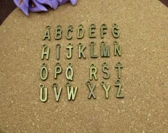 A Sets 26 Alphabet Letter Charms- 6x16mm,Letter Pendants, Antique Bronze Tone - p1156-A