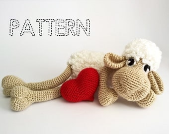Easter Sheep Crochet Patterns, Easter Lamb Crochet, Amigurumi Animals Tutorial,3D Heart Crochet,Lamb Baby Toys, Stuffed animals