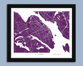 Halifax map, Halifax city art map, Halifax wall art poster, Halifax decorative map