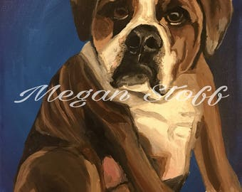 8x10 dog portrait on canvas