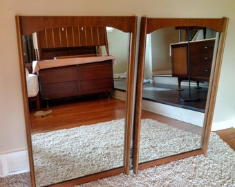 Mid Century Pair of Bassett Dresser / Wall Mirrors - 25x41