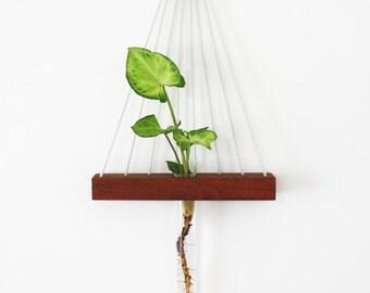 Hanging wall vase, test tube, hanging vase, reclaimed wood, minimalist vase, minimal