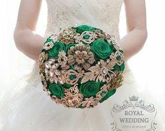 Bridal Bouquet Brooch Bouquet Green Wedding Bouquet Green Bouquet Green Gold Bouquet Gold Wedding Bridesmaids Bouquet Keepsake Bouquet