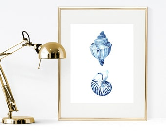 Blue watercolor art print, printable seashell watercolor print, blue home decor, prussian blue watercolor print, blue nautical decor