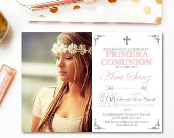 First communion invitation spanish, communion invitations, photo communion invitation, first holy communion, primera comunion