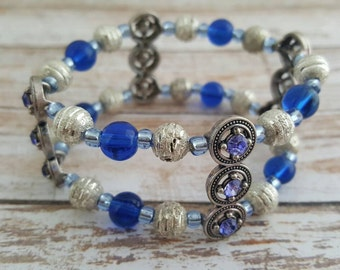 Blue bracelet - Blue beaded bracelet - Royal blue bracelet - Rhinestone bracelet - Blue jewelry - Womens bracelet - Glass bracelet