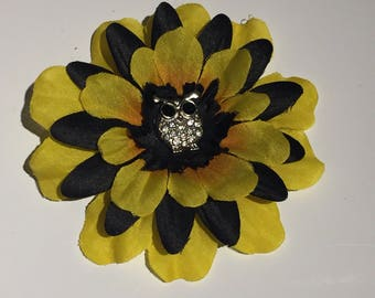 Black & Yellow Owl Flower Hair Clip