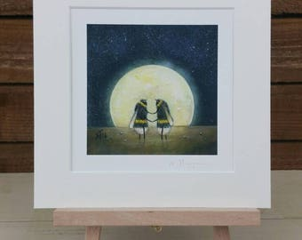 Moon and Bee Fine Art Print - Space Art - Nature Painting - Gift Idea - Home and Nursery Decor