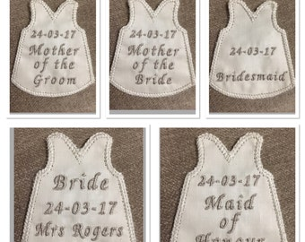 Personalised embroidered wedding dress label  patch for Bride, Mother of the Bride, Mother of the Groom, Maid of Honour and Bridesmaid