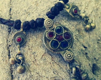 NECKLACE leather VINTAGE, tribal, Bohemian