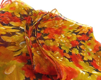 Vintage long silky & sheer oblong floral scarf in beautiful colors, gold, rust red and dark brown. Great colors for all seasons.