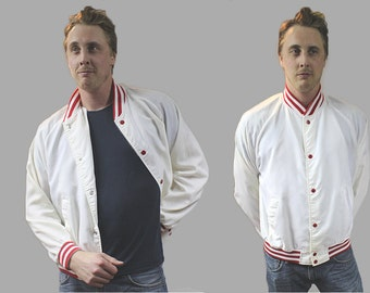 Vintage 1980s White and Red Snap Up Bomber Jacket