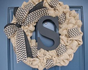 Monogram Burlap Wreath with Black Chevron Bow