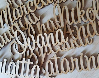 Laser Cut wooden Name Place cards for Wedding, Christening, Birthday, Baptism