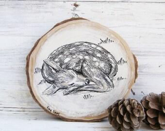 Woodland animals, Baby deer print, Nursery art, Deer Wood picture, Stag print, Kids room decor, Country decor, Wood sign, Wood slice art