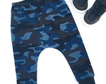 boys winter pants, boys harem pants, boys winter clothes, camo pants, boys camoflage pants, boys winter trousers, boys camo trousers, blue