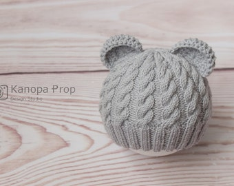 Newborn Bear Hat, Newborn Knit Hat, Girl Bear Hat, Girl Bear Hat, Baby Photo Prop, Baby Girl Photo Prop, Baby Girl Photo Prop