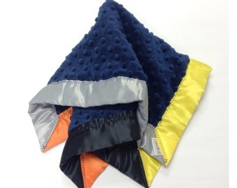 Minky lovey, minky travel blanket, minky security blanket, satin lovey, minky baby blanket, navy blanket