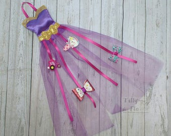 Hair Clip Holder - Princess - Satin Bodice - Tulle Skirt - Hair Bow Holder - Purple - Pink - Gold - Ribbons - Pretty Bow Holder - Hanging
