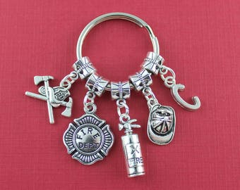 Personalized Firefighter Keychains//Gift For A Firefighter//Firefighter Key Ring//Fireman Key Chain//Gifts For Him//Handmade on L.I. N.Y